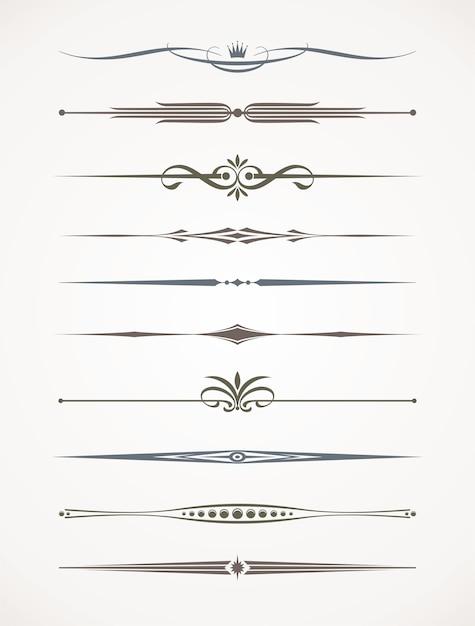 Set di divisori decorativi ornamentali. illustrazione. Vettore Premium