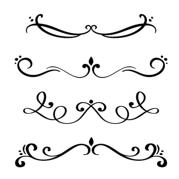 Set di divisori e separatori eleganti Vettore Premium