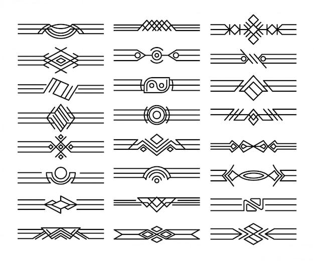 Set di divisori per bordi. vignette nere decorative. elementi di design calligrafico e decorazione della pagina Vettore Premium