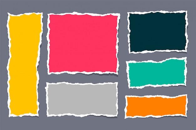 Set di documenti strappati strappati in molti colori Vettore gratuito