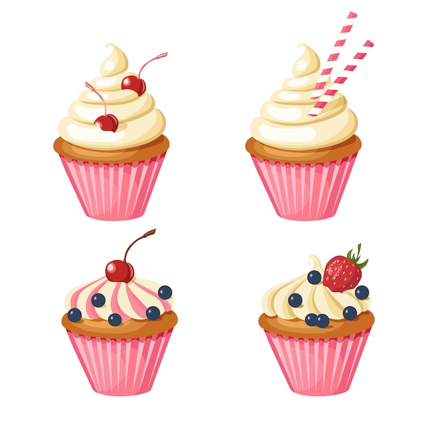 Set di dolci cupcakes rosa. pasticcini decorati con ciliegia, fragole, mirtilli, dolci. Vettore Premium