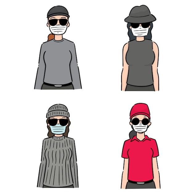 Set di donne che utilizzano una maschera protettiva medica Vettore Premium