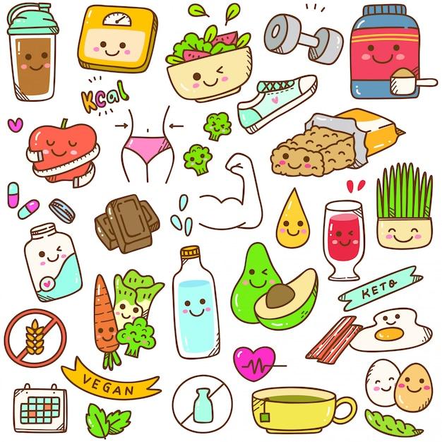 Set di doodle di dieta kawaii Vettore Premium