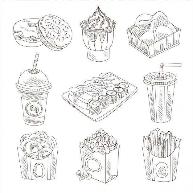 Set di doodle di fast food Vettore Premium