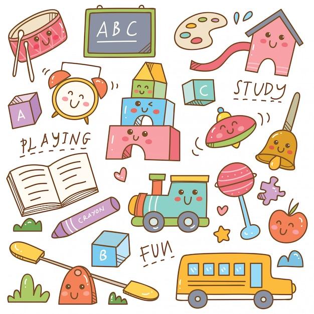 Set di doodle di giocattoli e attrezzature di scuola materna Vettore Premium