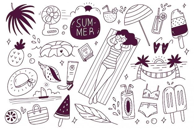 Set di doodle estivo Vettore Premium