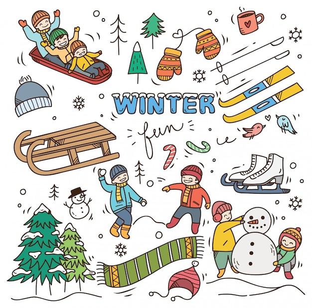 Set di doodle invernale Vettore Premium