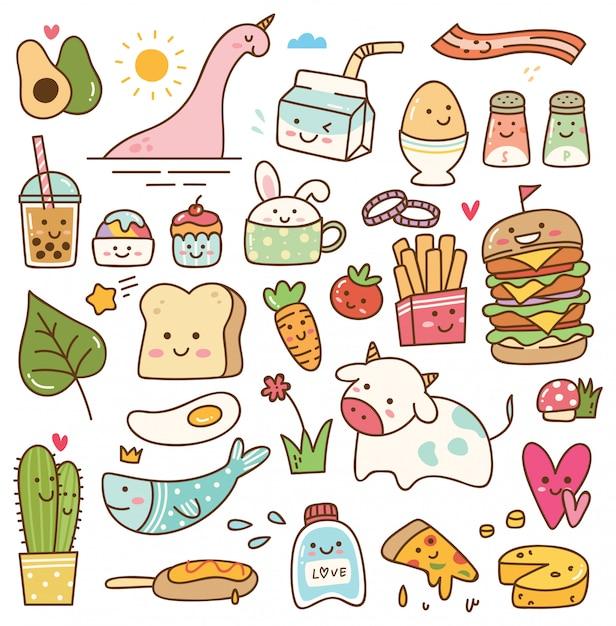 Set di doodle kawaii Vettore Premium