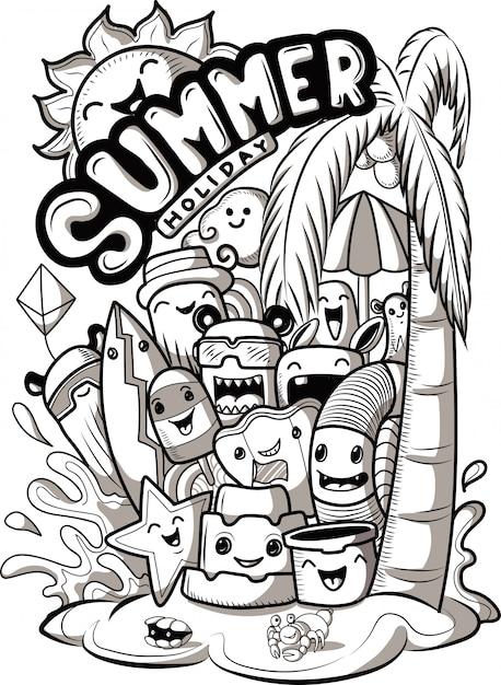 Set di doodle simpatici mostri con elementi estivi Vettore Premium