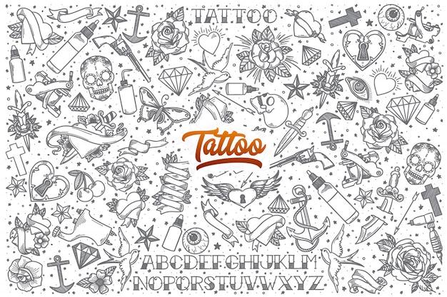 Set di doodle tatuaggio disegnato a mano Vettore Premium
