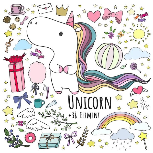 Set di doodle unicorn e 38 elementi. Vettore Premium