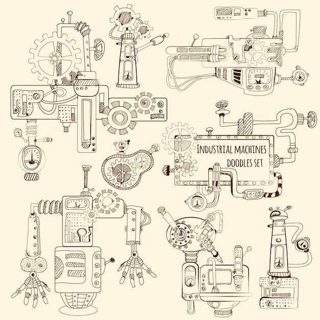 Set di doodles di macchine industriali Vettore gratuito