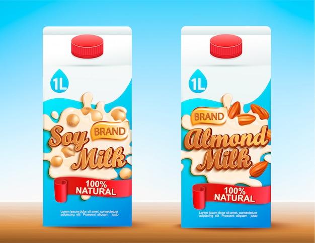 Set di due confezioni di latte tetra con gusti diversi. Vettore Premium
