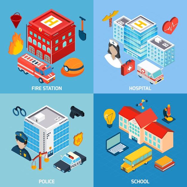 Set di edifici comunali Vettore gratuito