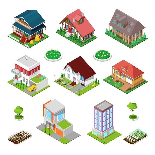 Set di edifici della città isometrica. case moderne e cottage con fiori. illustrazione Vettore Premium