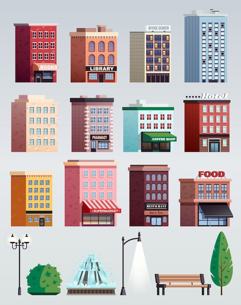 Set di edifici di elementi di strada di città Vettore gratuito