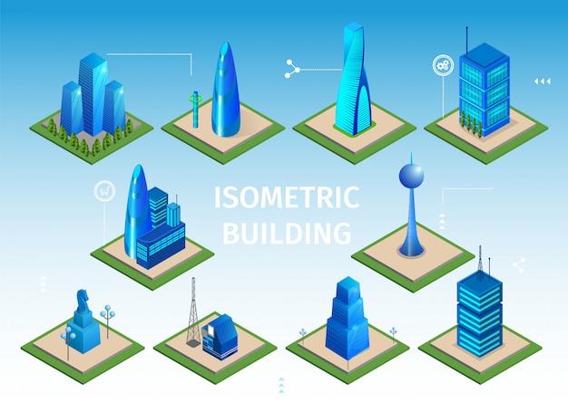 Set di edifici futuristici. oggetti 3d smart city Vettore Premium