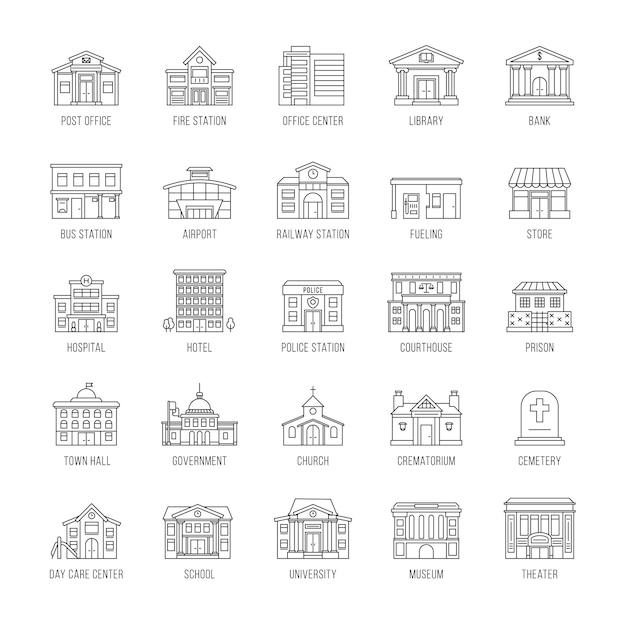 Set di edifici governativi Vettore Premium
