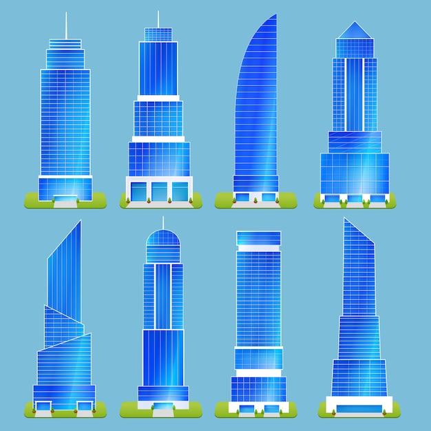 Set di edifici per uffici Vettore gratuito