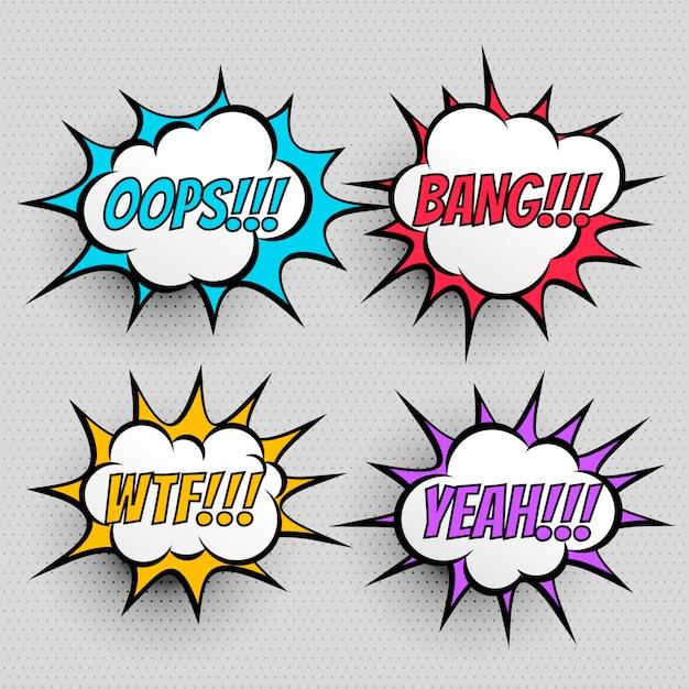 Set di effetti di testo di espressione di fumetti di quattro Vettore gratuito