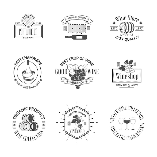 Set di eleganti etichette di vino Vettore Premium
