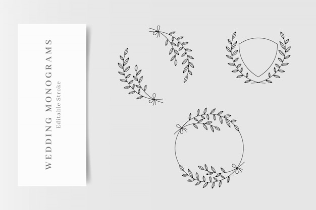 Set di eleganti monogrammi di nozze Vettore Premium
