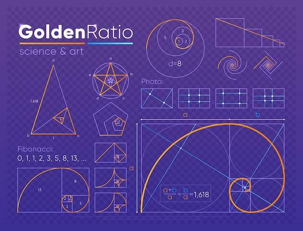 Set di elementi a sezione aurea Vettore Premium