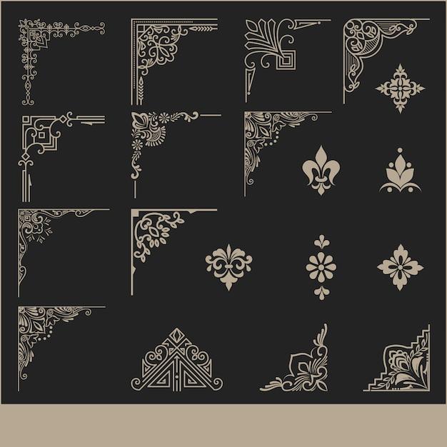 Set di elementi angolari decorativi Vettore gratuito