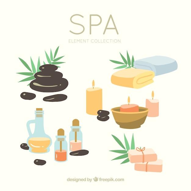 Set di elementi centro benessere con candele e oli aromatici Vettore gratuito