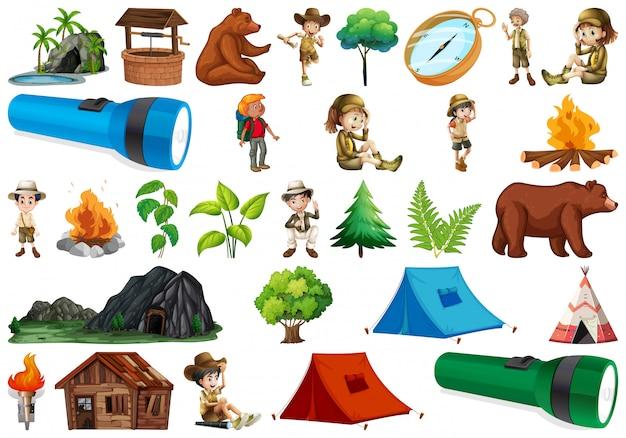 Set di elementi da campeggio Vettore gratuito