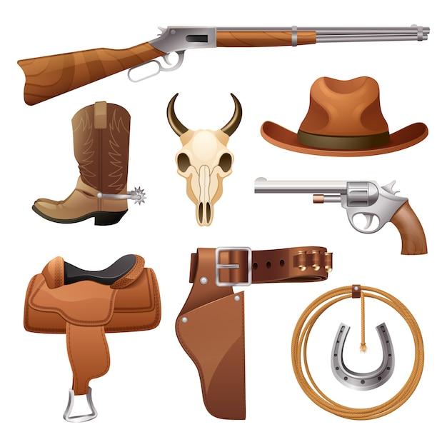 Set di elementi da cowboy Vettore gratuito