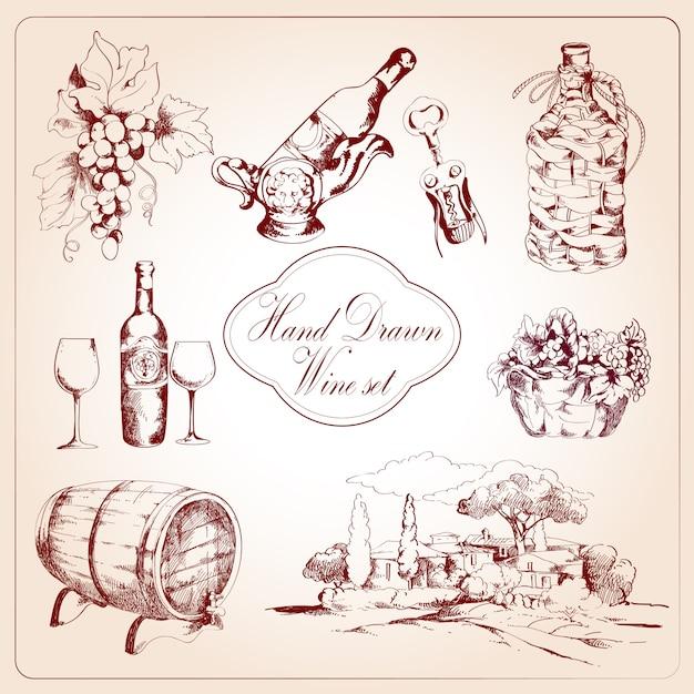 Set di elementi decorativi del vino Vettore gratuito