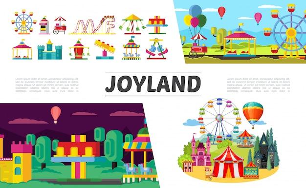 Set di elementi del parco divertimenti piatto con ruota panoramica bambini auto elettriche montagne russe mongolfiera biglietteria castello diverse attrazioni e giostre Vettore gratuito