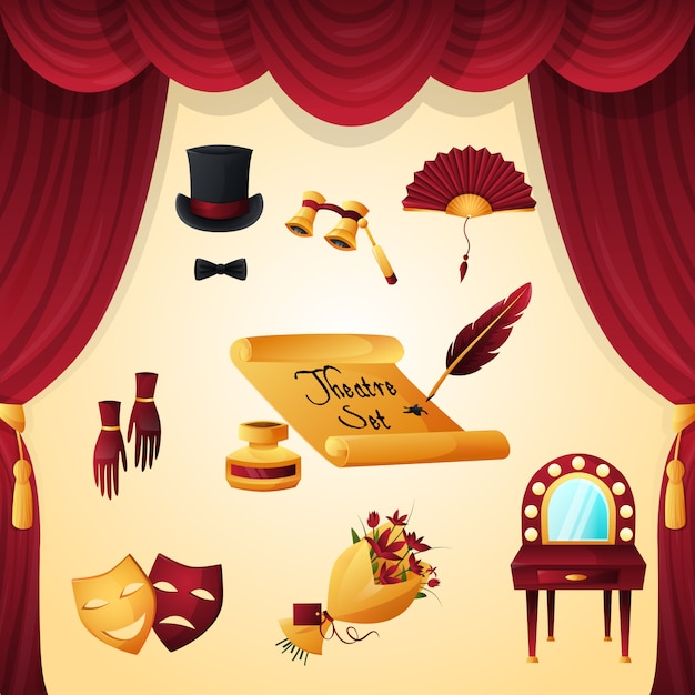 Set di elementi del teatro Vettore gratuito