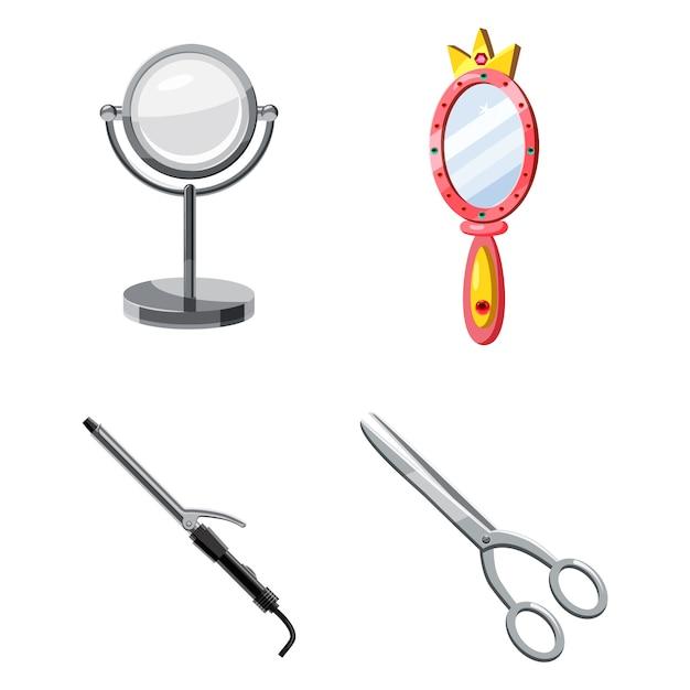Set di elementi dello strumento di bellezza. cartone animato set di strumento di bellezza Vettore Premium