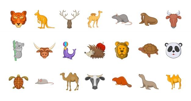 Set di elementi di animali. insieme del fumetto degli elementi di vettore degli animali Vettore Premium
