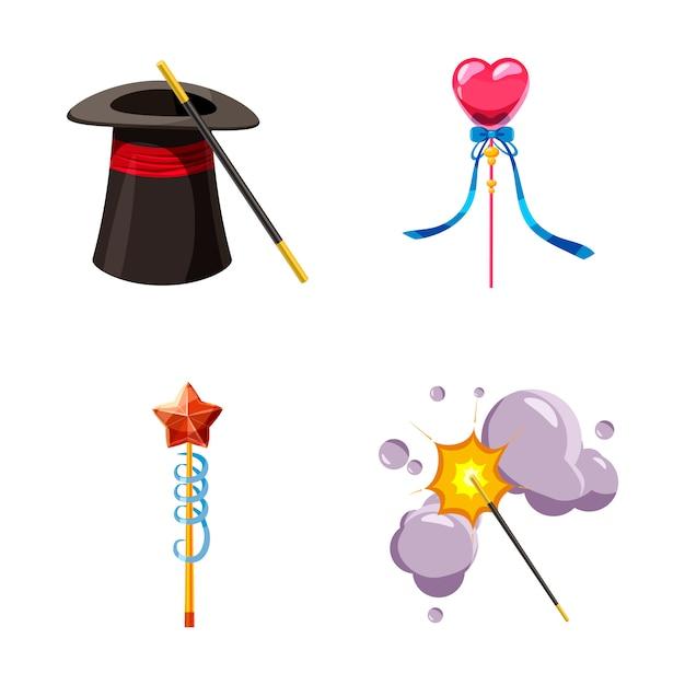 Set di elementi di bacchetta magica. cartone animato set di bacchetta magica Vettore Premium