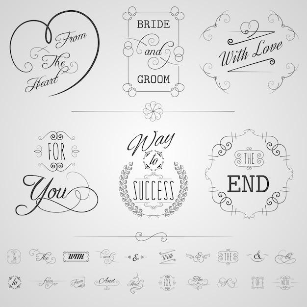 Set di elementi di calligrafia Vettore gratuito