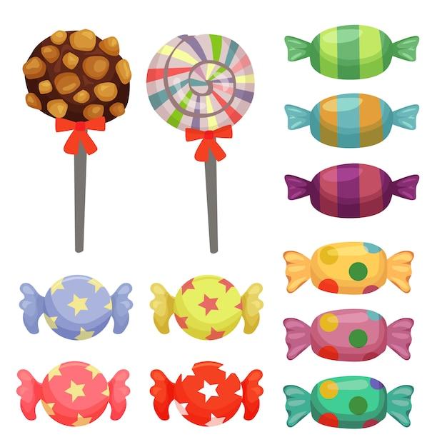 Set di elementi di caramelle di canna da zucchero Vettore Premium