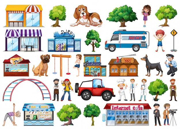 Set di elementi di città Vettore gratuito