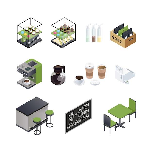 Set di elementi di coffee house Vettore gratuito