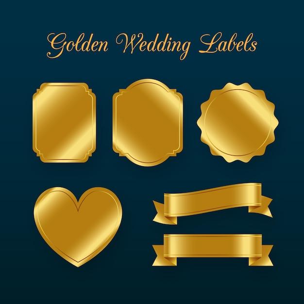 Set di elementi di decorazione di etichetta di nozze Vettore gratuito