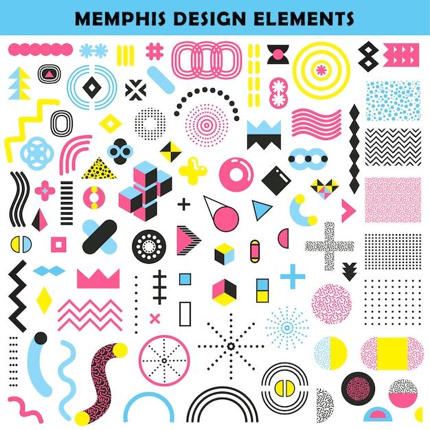 Set di elementi di design di memphis Vettore gratuito
