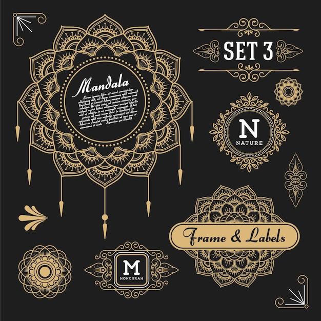 Set di elementi di design grafico retro vintage per telaio, etichette, simboli di logo e ornamentali Vettore gratuito