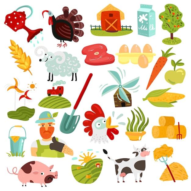 Set di elementi di fattoria Vettore gratuito
