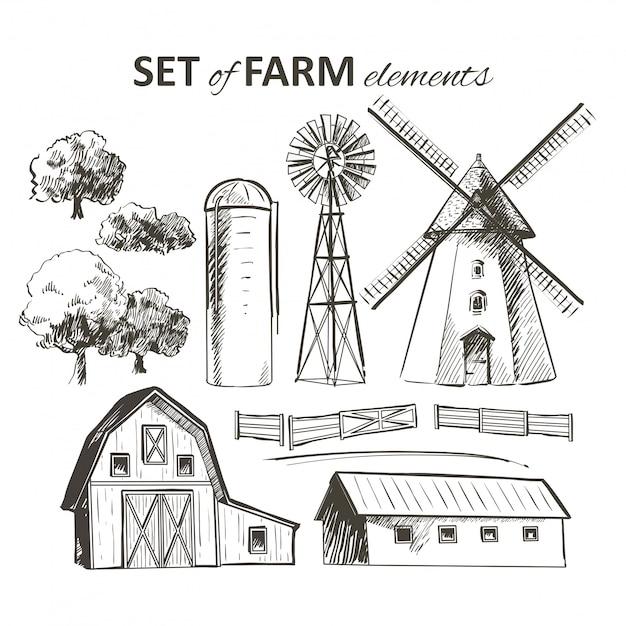 Set di elementi di fattoria Vettore Premium