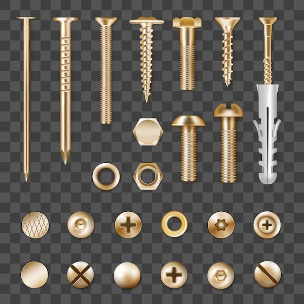 Set di elementi di fissaggio in metallo dorato realistico isolato su trasparente Vettore gratuito