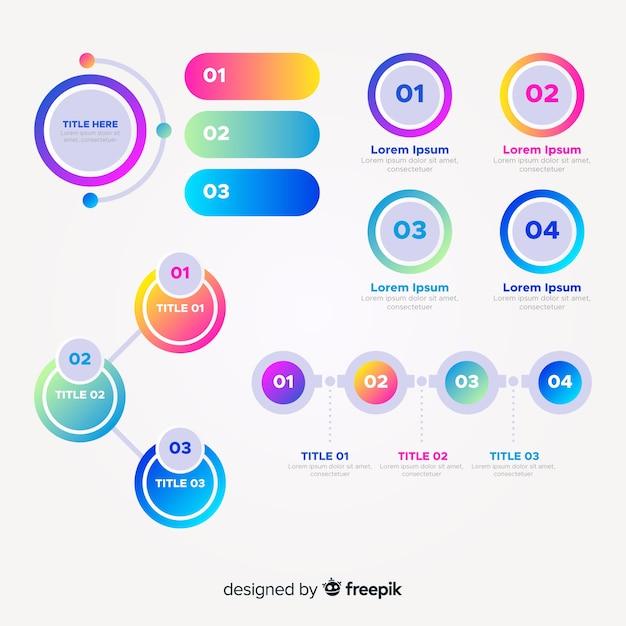 Set di elementi di infografica sfumata Vettore gratuito