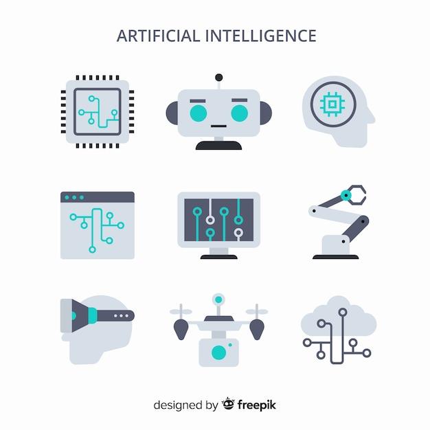 Set di elementi di intelligenza artificiale in design piatto Vettore gratuito
