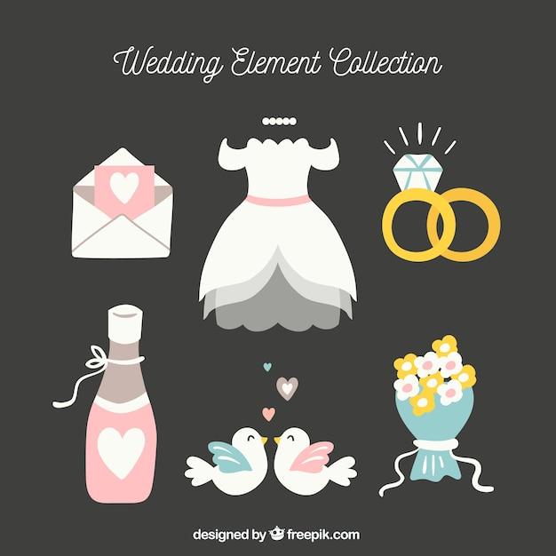 Set di elementi di nozze Vettore gratuito